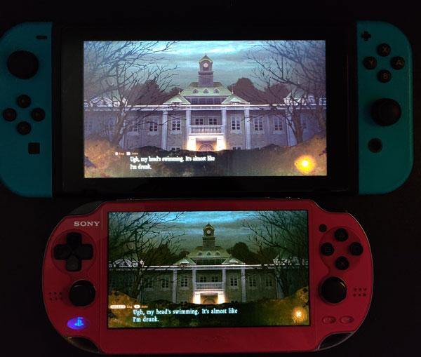 SwitchとPSP Vita(1000)の画面の比較